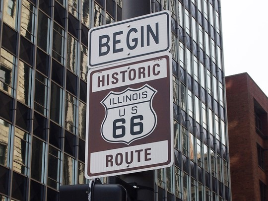 Début de la route 66 à Chicago