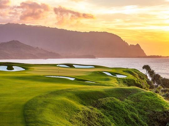 Magnifique parcours de golf à Kuai, Hawaï