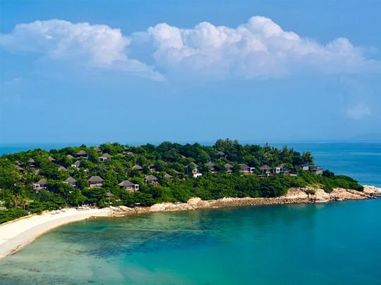 Vue aérienne du Six Senses situé au nord de l'île de Koh Samui