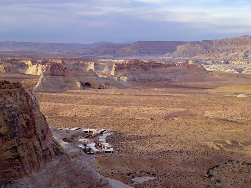 Vue de l'Amangiri, un bijou contemporain dans le désert de l'Utah