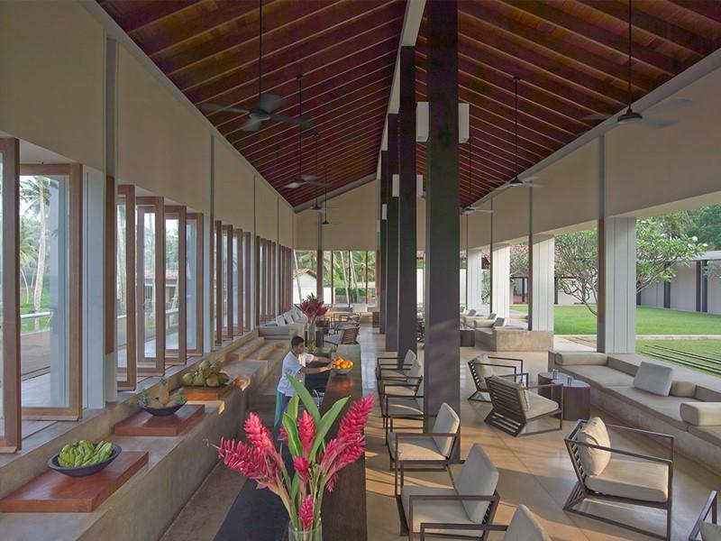 Le lounge bar de l'Amanwella au Sri Lanka