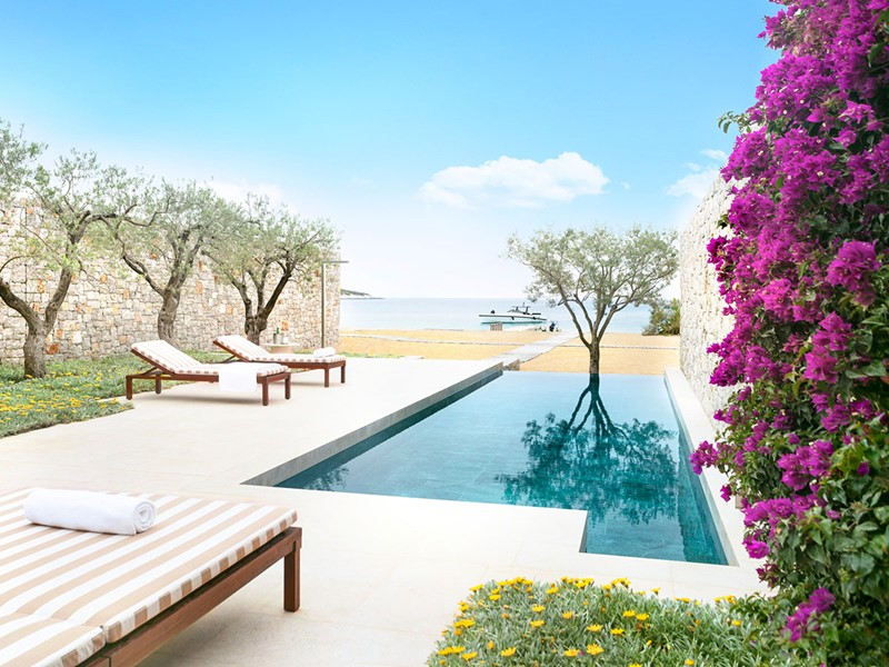 La piscine de la Beach Cabana de l'hôtel Amanzoé