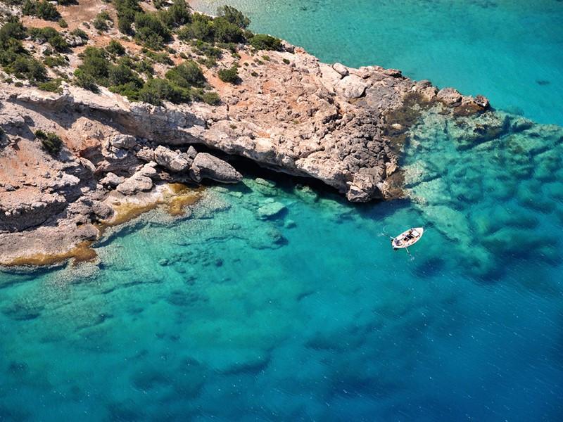 Vue aérienne de l'île de Spetses situé en Grèce