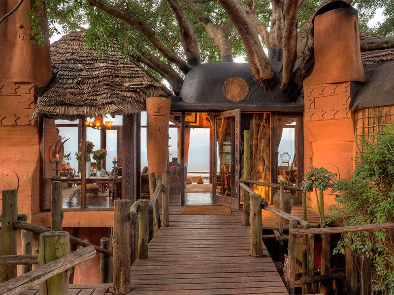 Architecture traditionnelle du Ngorongoro crater lodge