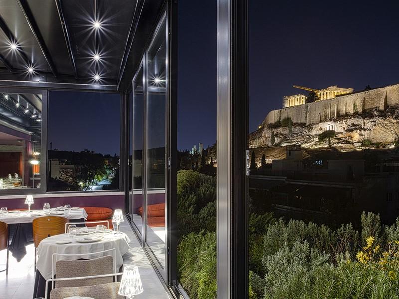 Vue imprenable sur l'Acropole depuis le restaurant Sense