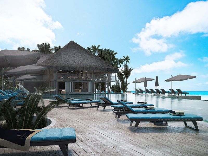 Pool Bar de l'hôtel Baglioni Resort aux Maldives