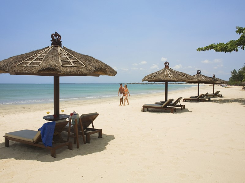 La plage de l'hôtel Belmond Jimbaran Puri Bali