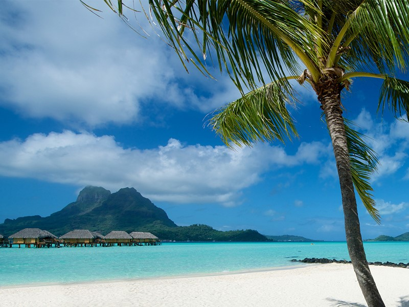 La plage du Pearl Beach Resort à Bora Bora