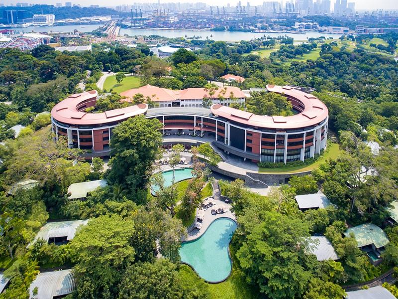 Vue aérienne du Capella Singapour situé sur l'île de Sentosa