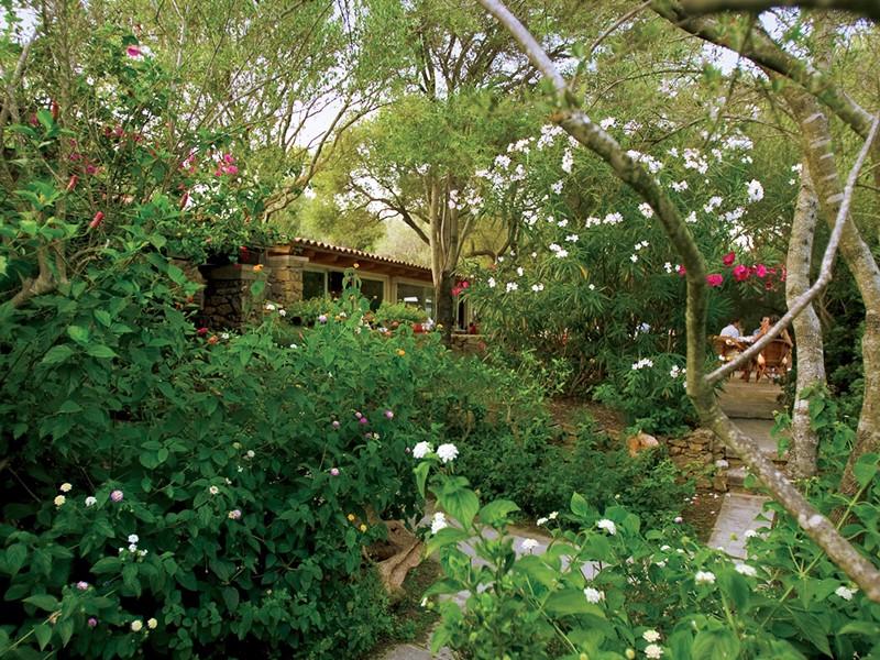 Le jardin verdoyant de l'hôtel Capo d'Orso en Sardaigne