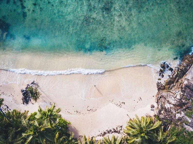 Une plage de sable blanc, adossée aux roches seychelloises