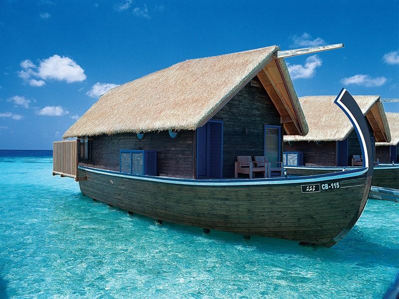 Extérieure des Dhoni Suites du COMO Cocoa Island