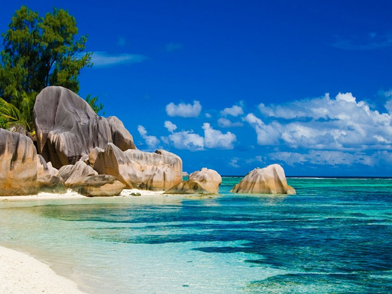 Les plages emblématiques de Praslin vous dévoilent leur sable blanc parsemé de roches granitiques au bord d'une eau turquoise