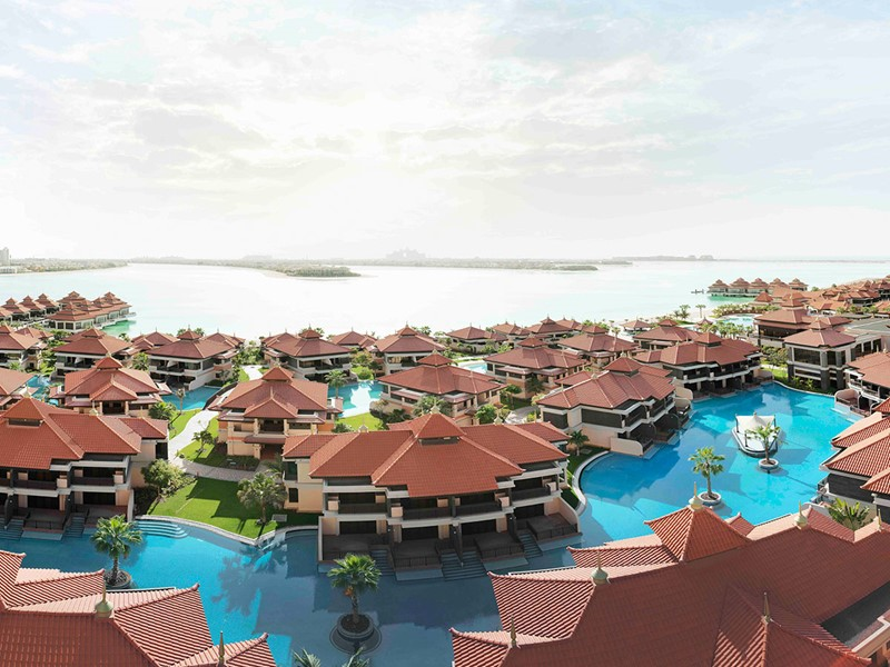 Vue aérienne de L'Anantara The Palm Dubaï Resort