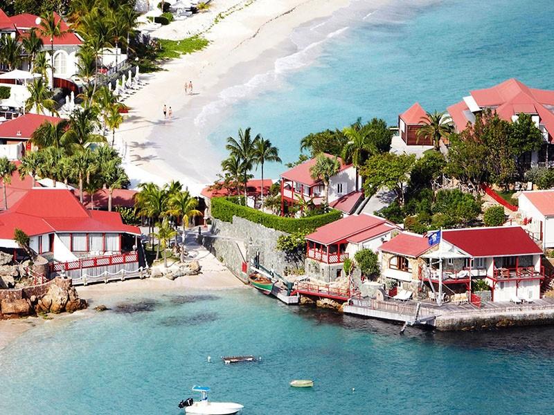 Vue aérienne de l'hôtel Eden Rock St Barth