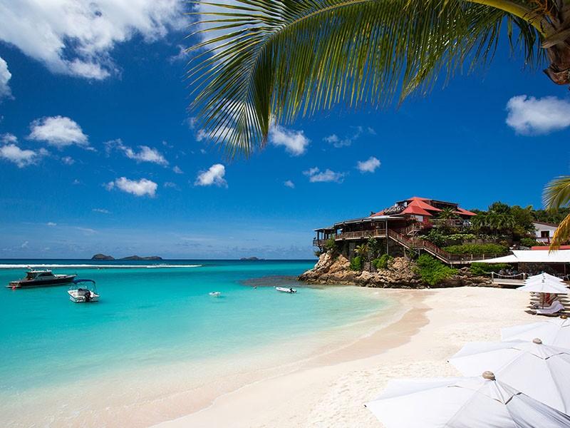Plage de l'hôtel Eden Rock St Barth aux Antilles