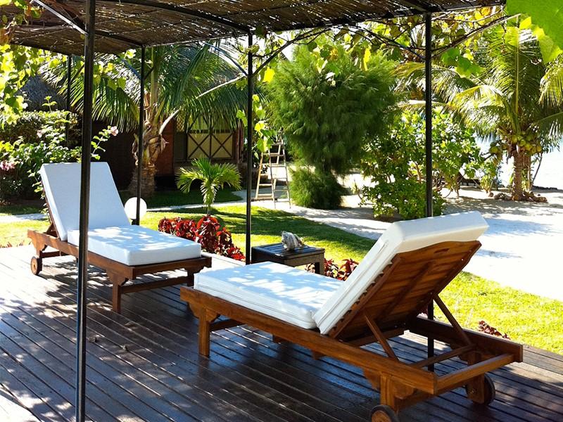 L'espace de détente du Fare Pea situé à côté de Patio, en Polynésie
