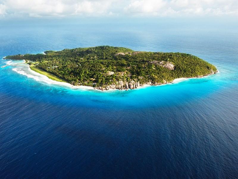 Vue aérienne de l'île privée