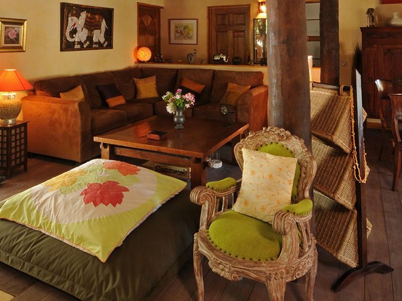 Le lobby du Green Lodge situé en Polynésie