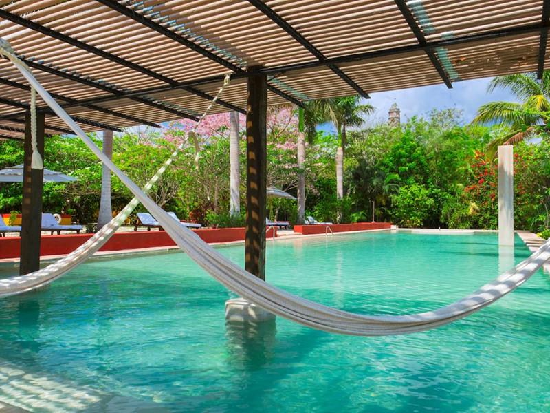 La superbe piscine de l'Hacienda San Jose au Mexique