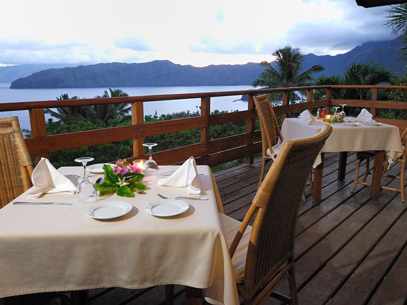 Restaurant du Hanakee Pearl Lodge Hiva Oa en Polynésie