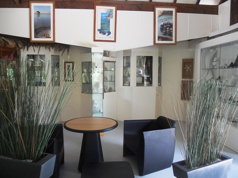 La boutique de perles de l'hôtel Havaiki en Polynésie