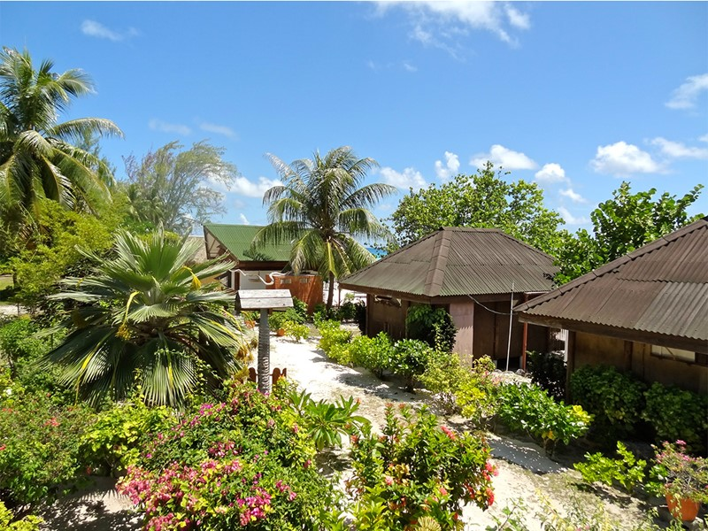 Vue de l'hôtel Havaiki Lodge Fakarava en Polynésie