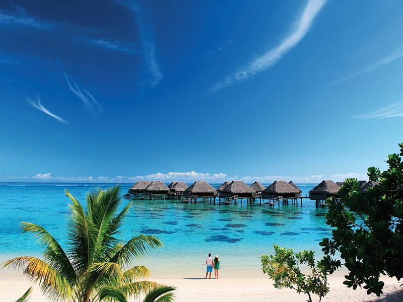 Vue du lagon de l'hôtel Hilton Moorea Lagoon Resort and Spa en Polynésie