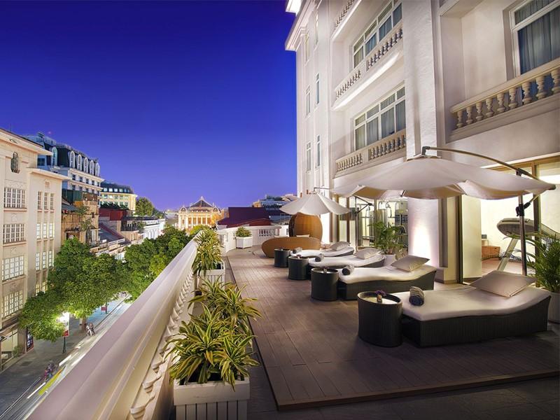 La terrasse de l'hôtel hôtel de l'Opéra Hanoi au Vietnam