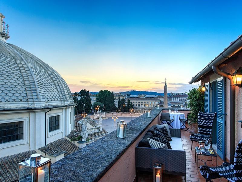 Splendide vue sur la capitale de l'Italie depuis l'Hôtel de Russie
