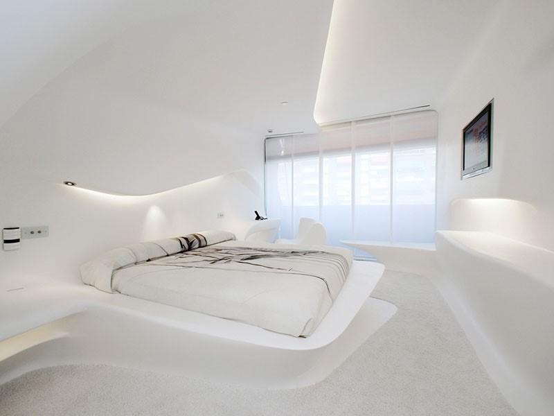 Autre vue de la Chambre Space Club by Zaha Hadid de l'hôtel Silken Puerta de América à Madrid