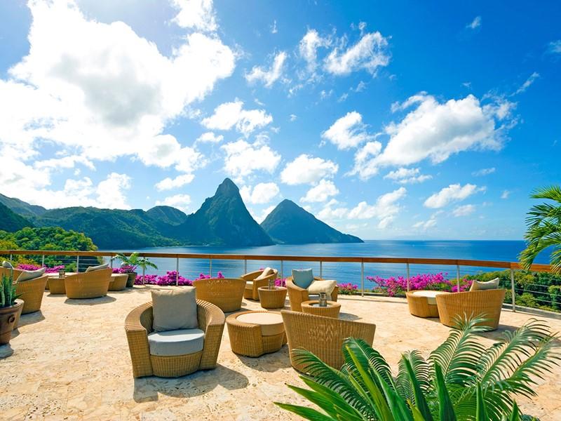 Magnifique vue sur l'océan depuis le Jade Mountain