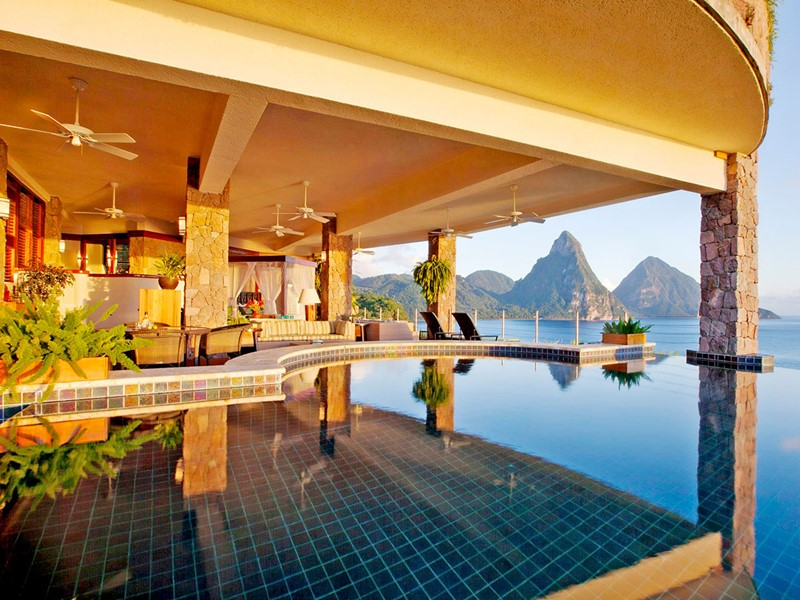 Suite Galaxy de l'hôtel Jade Mountain à Sainte-Lucie