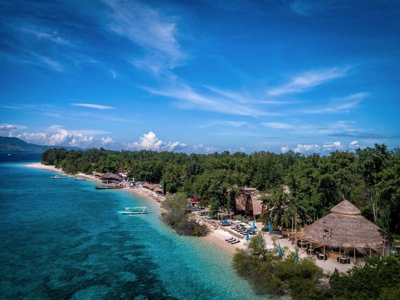 Vue aérienne du Karma Reef, au bord de l'eau