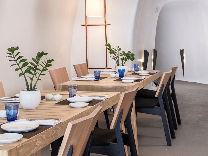 Le restaurant SELTZ de l'hôtel Katikies en Grèce