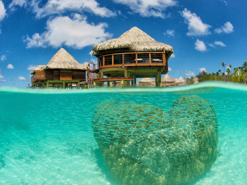Vue du magnifique lagon de l'hôtel Kia Ora
