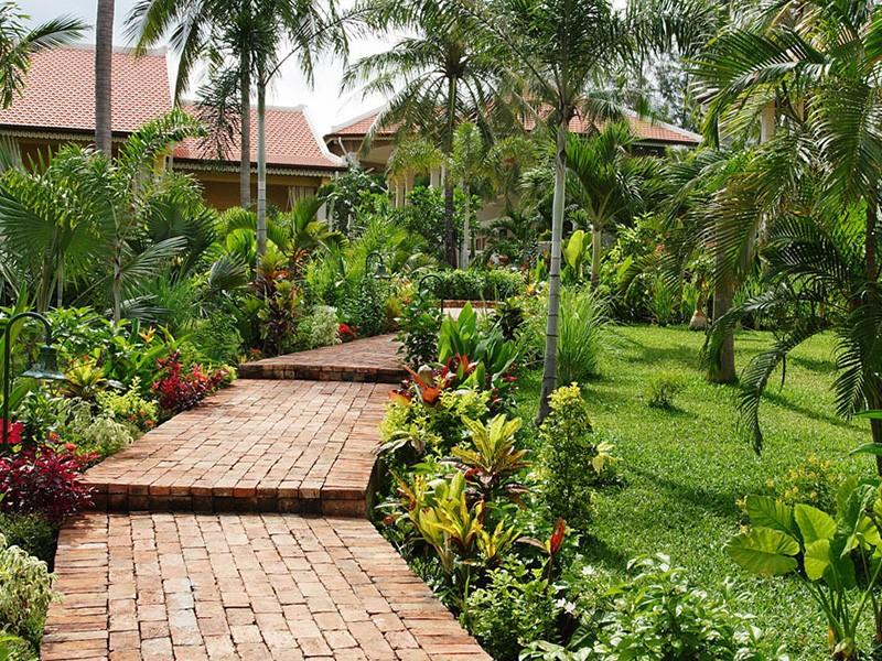Le magnifique jardin verdoyant de l'hôtel La Véranda