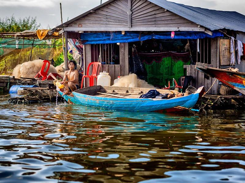 Vue du village de Chong Khneas