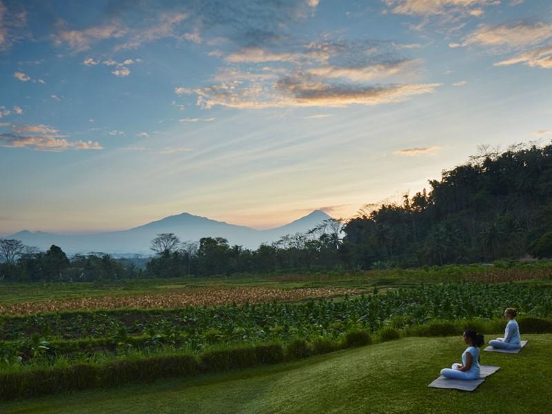 Séance de yoga avec une vue sur la végétation de Java