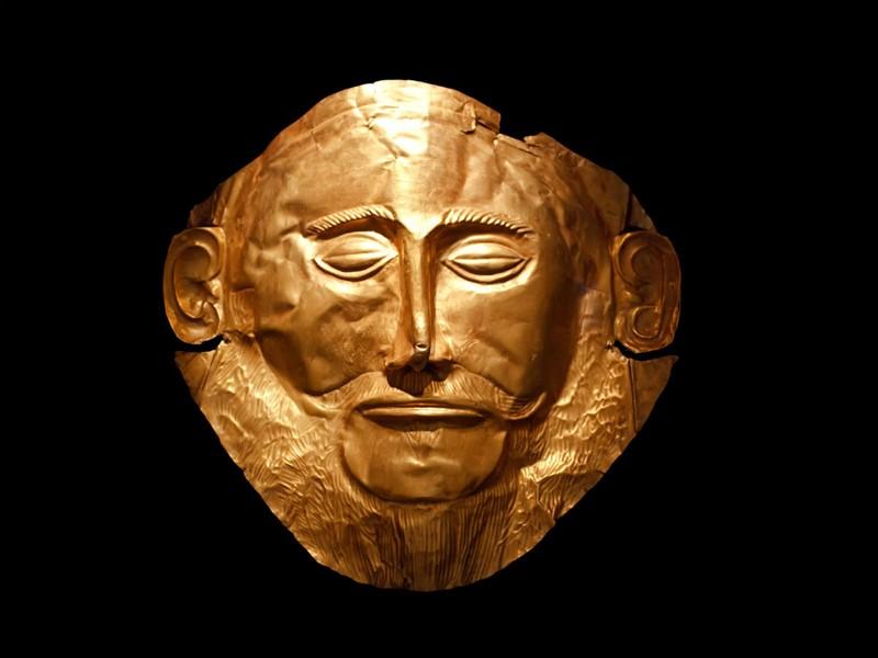 Le masque d'Agamemnon au musée archéologique de Mycènes