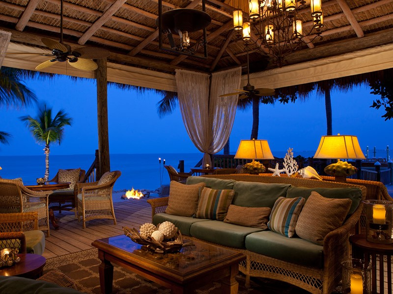 Le lounge de l'hôtel Little Palm Island, aux Etats Unis
