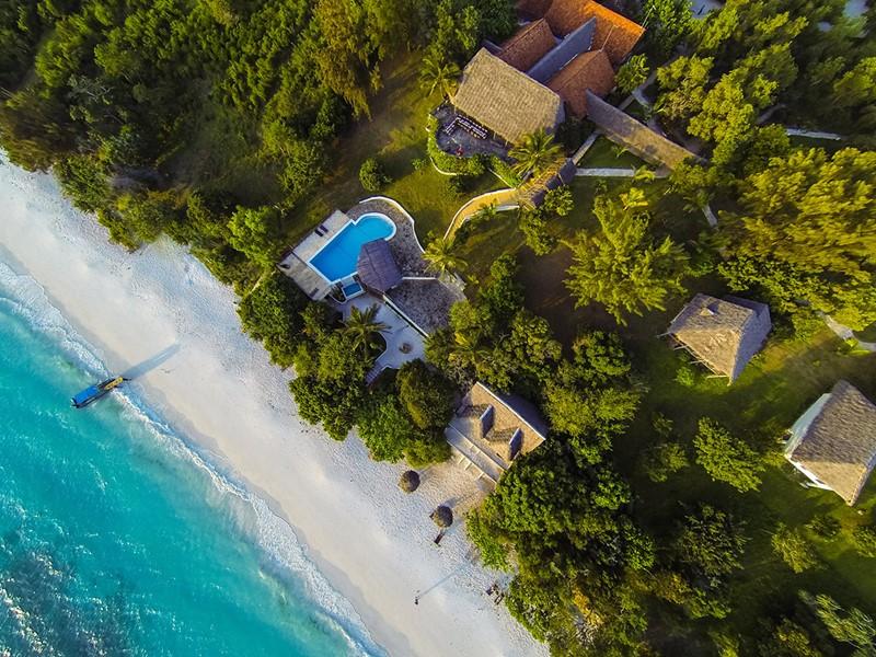 Vue aérienne du Manta Resort