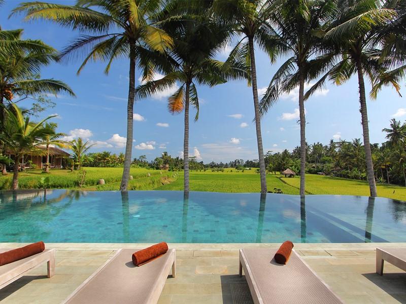 La belle piscine de l'hôtel, face aux rizières