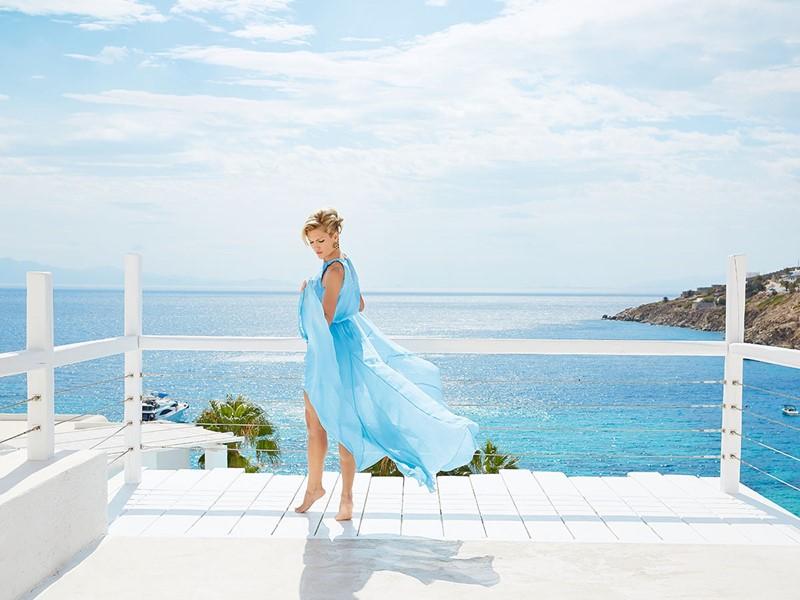 L'hôtel Mykonos Blu surplombe l'incroyable golfe de Psarou