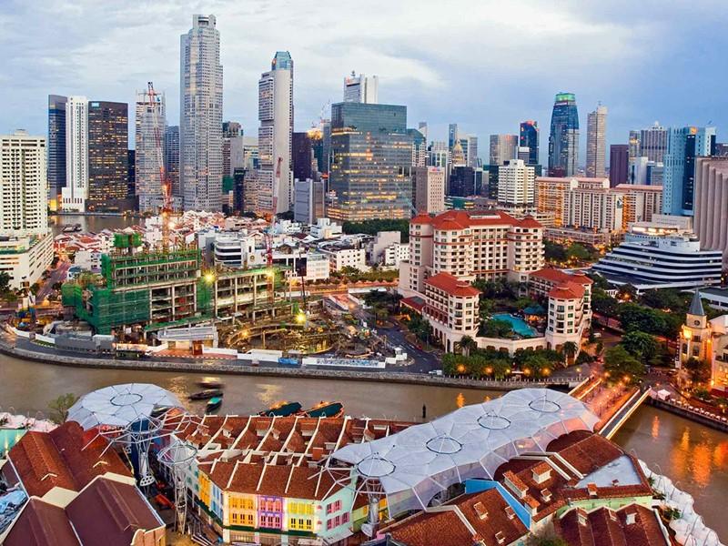 Vue de la ville de Singapour depuis le Novotel Clarke Quay