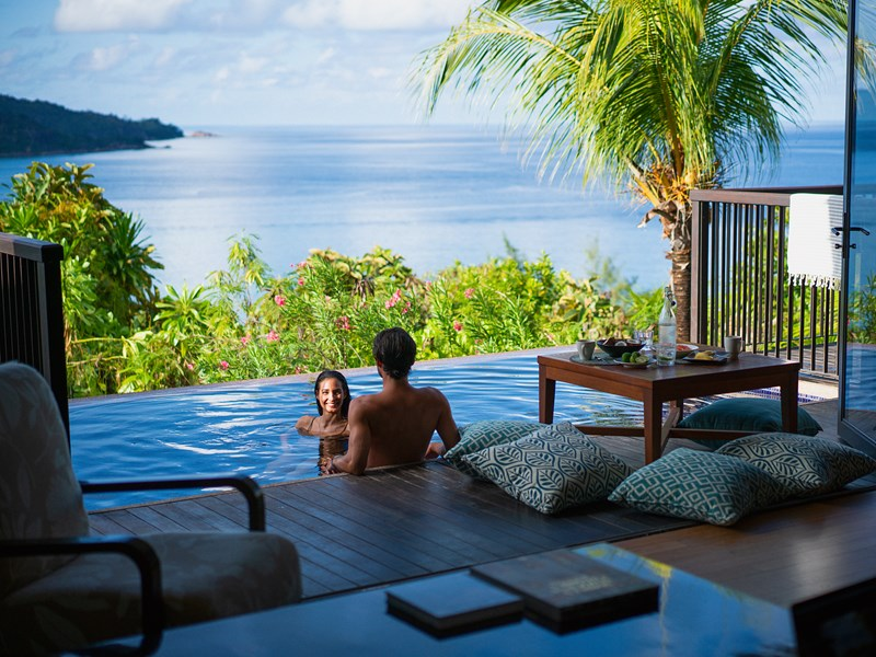 Ocean View Pool Villa du Raffles Praslin aux Seychelles