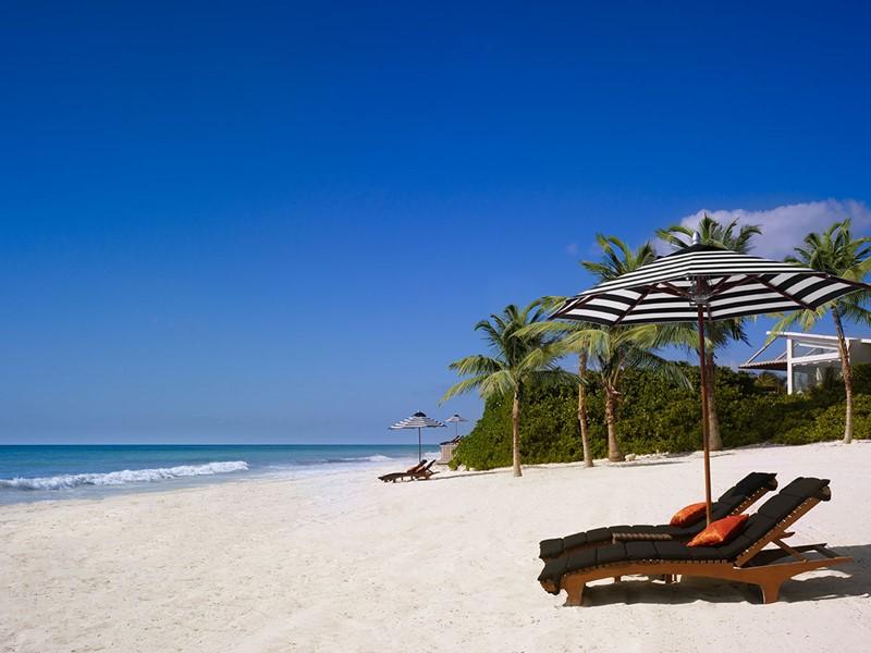 La plage de l'hôtel Rosewood Mayakoba au Mexique