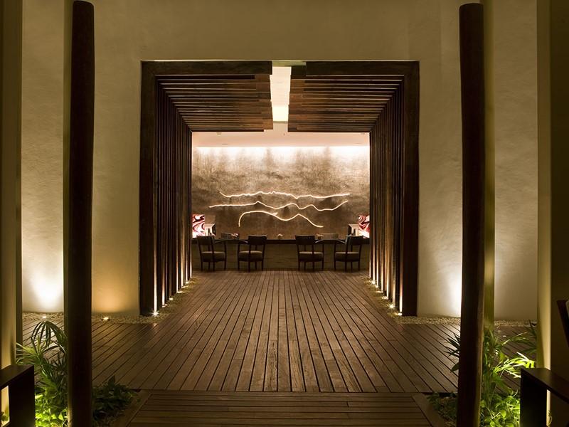 L'entrée du spa de l'hôtel Rosewood Mayakoba au Mexique