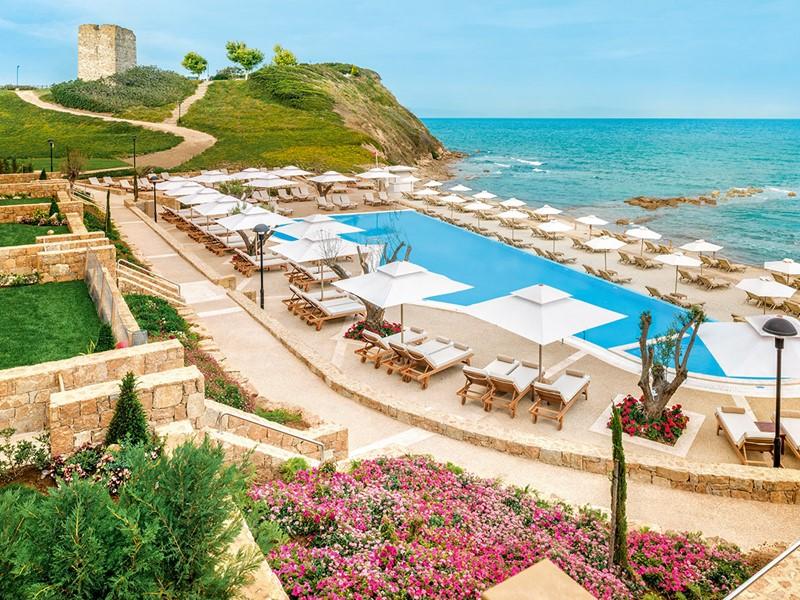 Vue de l'hôtel Sani Beach, situé au nord de la Grèce