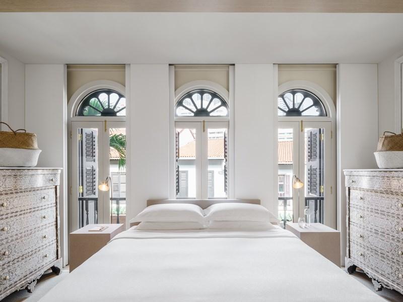 La Pearl Suite Bedroom et ses tons nacrés